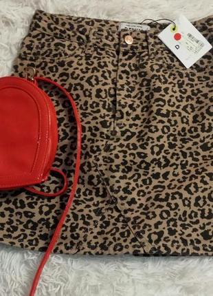 Леопардова спідниця міні джинсова