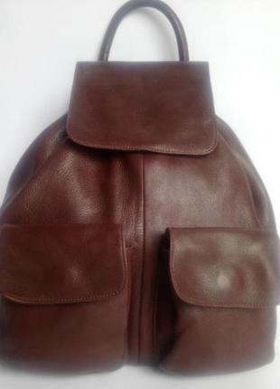 Большой городской кожаный рюкзак ape regina ( от firenze) италия