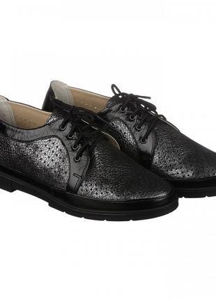 Кожаные туфли с перфорацией на шнурках натуральная кожа черные, графит