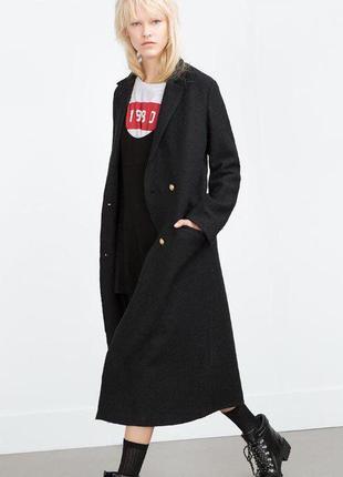 Черное длинное шерстяное пальто zara