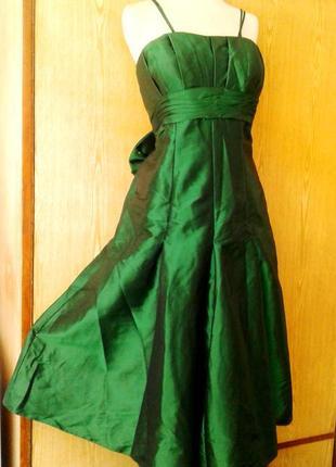 Зеленое шелестящее платье на выпускной, торжество, 3хl.