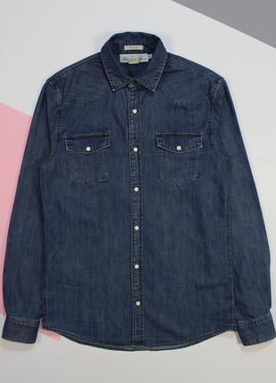 Оригинальная джинсовая рубашка на заклепках в винтажном раскрасе от h&m