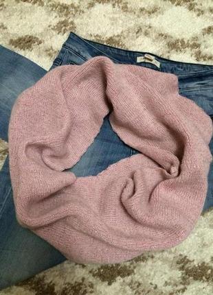 Теплый фирменный шарф-хомут nyx с дорогим отливом,розовый вязаный шарфик+подарок