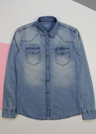Топовая приталенная джинсовая рубашка от mexx