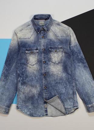 Оригинальная вареная джинсовая рубашка с эффектом заляпаности от jack&jones