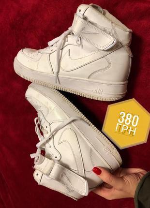 Кроссовки высокие nike air force белые