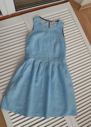 Льняное голубое платье gap