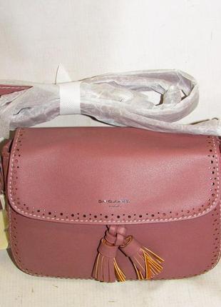 Клатч женский david jones пудровый розовый кожаный натуральная кожа сумка кросс боди