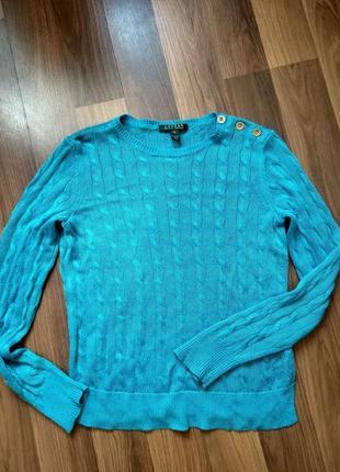 Polo ralph lauren пуловер свитер ральф лорен голубого цвета с золотыми пуговицами