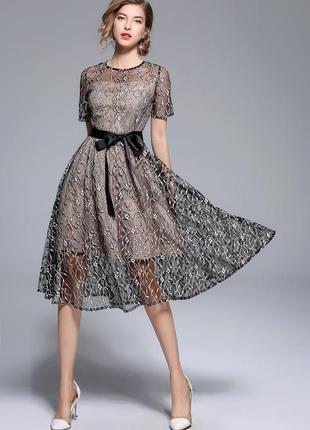 Прозрачное вечернее платье вышивка