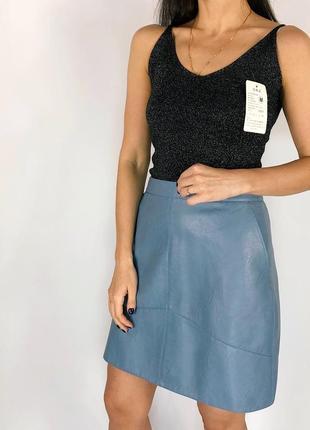 Шикарная юбка из кожзама zara