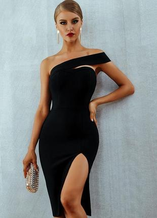 Роскошное бандажное платье на одно плечо