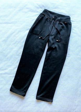 Штаны брюки спортивные укороченные кюлоты черные трикотажные теплые с начесом купить цена