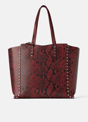 Двусторонняя сумка-шоппер с заклепками