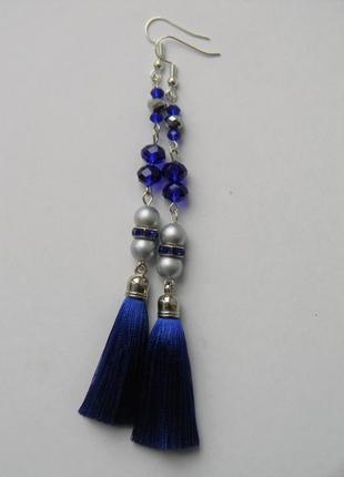 Синие серёжки кисточки с стеклянными камнями