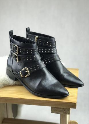 Ботиночки кожаные miss kg чёрные