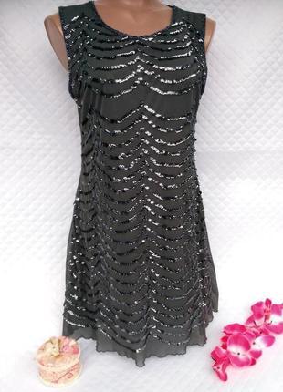 Красивое нарядное платье в пайетках размер (42-44)