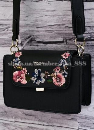 Клатч с вышивкой, сумка через плечо david jones 5997 черный