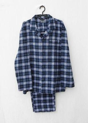 Мягкая баевая хлопковая пижама в клетку для сна и дома 100% котон