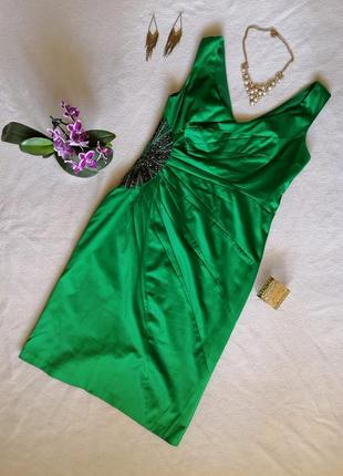 Атласное вечернее зелёное платье миди julien macdonald1 фото