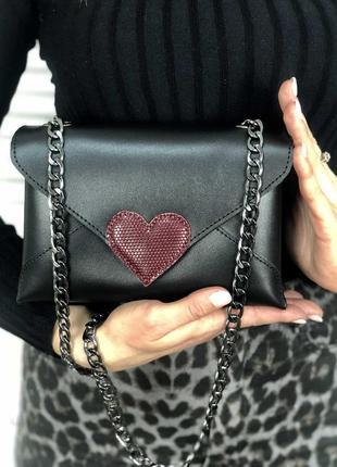 Поясная кожаная сумка-клатч через плечо на цепочке или на пояс