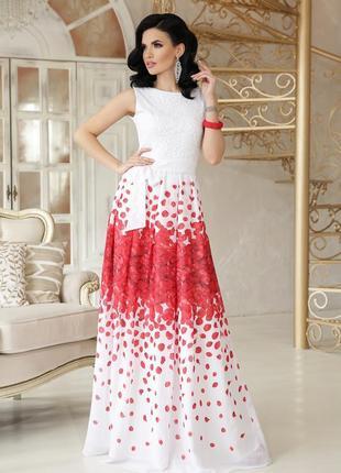 Платье на выпускной красные лепестки