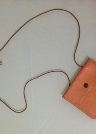 Сумочка маленькая коричневая через плечо, кошелек ручной работы