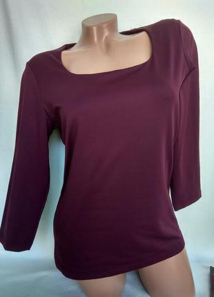 Эластичная спортивная футболка винного цвета рукав 2/3 р. l / 40 - eu , от coolwater woman