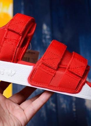 Женские сандалии босоножки adidas красно/белые