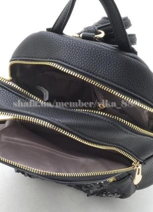 Рюкзак с ушками в паетках на два отделения 172 черный4 фото