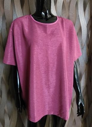 -50% на вторую вещь нарядная футболка с переливом размер батал uk 22-24 наш 56-58