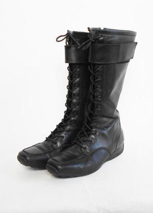 Черные кожаные осенние весенние спортивные сапоги geox