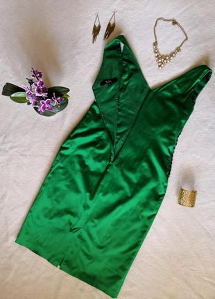 Атласное вечернее зелёное платье миди julien macdonald2 фото