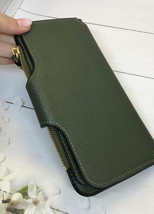 Стильный женский кошелек темно зеленый