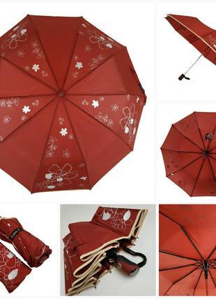 """Женский зонт """"lilu"""" с изображением цветов, полуавтомат на 10 спиц от фирмы """"max"""" бордовый"""