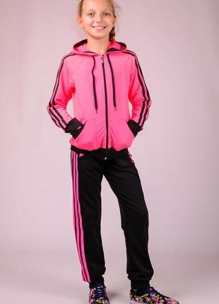 Ярко-розовый трикотажный детский спортивный костюм, для девочки