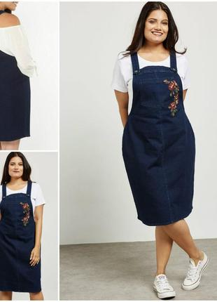Стильный джинсовый сарафан с вышивкой цветы 56,58 размер
