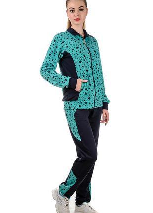 Женский трикотажный спортивный костюм, сине-зелёный, звёзды