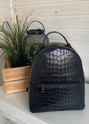 Рюкзак итальянский кожаный натуральная кожа рептилия новый чёрный borse in pelle