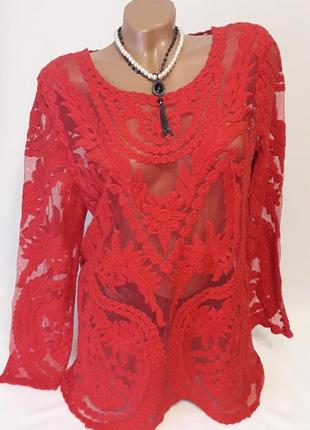 Блуза-сетка с вышивкой