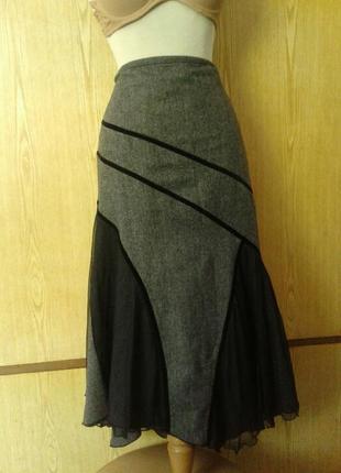 Вискозная юбка с гипюрными вставками,2xl.