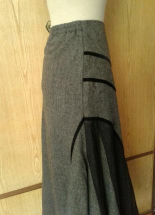Вискозная юбка с гипюрными вставками,2xl.2 фото