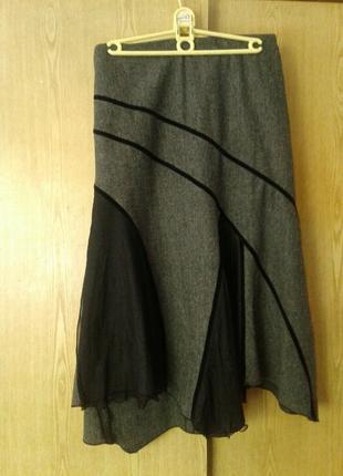 Вискозная юбка с гипюрными вставками,2xl.4 фото