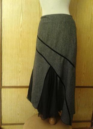 Вискозная юбка с гипюрными вставками,2xl.5 фото