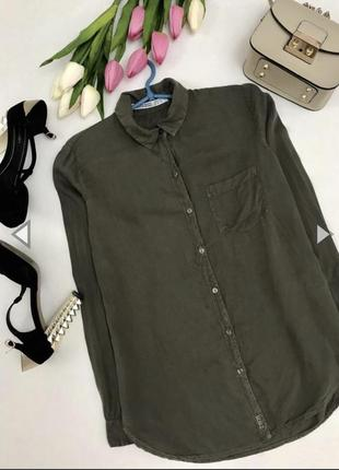 050e04e7abe Вискозная пубашка цвета хаки. ZARA