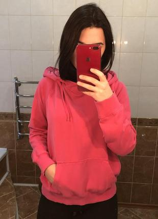 Розовое худи с капюшоном с кармашками divided оверсайз