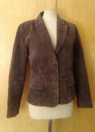 Замшевый пиджак- куртка темно-кофейного цвета, м.