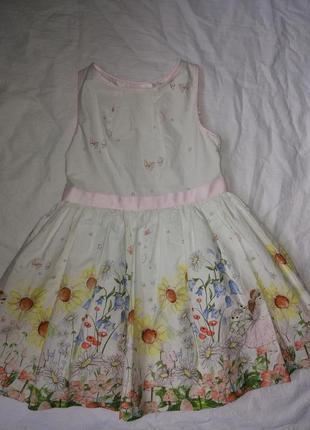 Красивое хлопковое платье 5-6 лет,116 см,в идеале от m&s