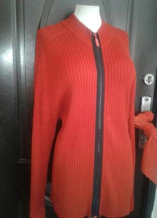 Оранжевая катоновая кофта на молнии,2xl-3xl.2 фото