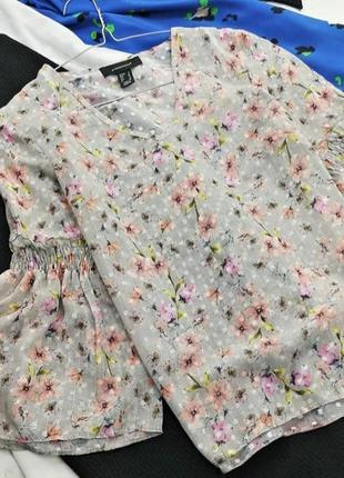 Шифоновая блуза блузка топ с воланами рюшами в цветочный принт